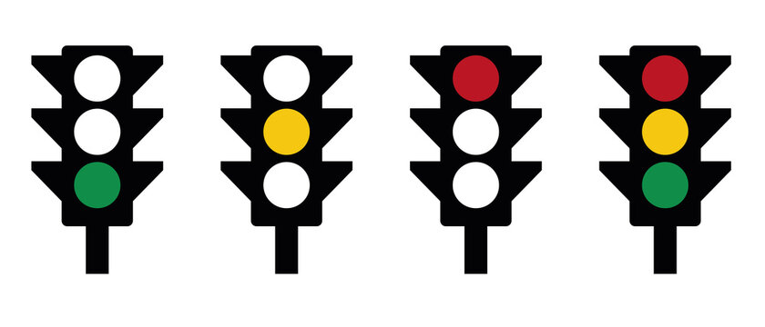 Traffic Light scheme - green, yellow, red, icons infographic