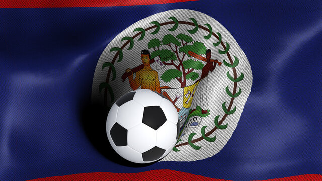 3D rendering of the flag of Belize with a soccer ball