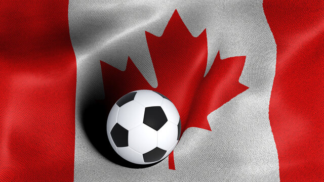 3D rendering of the flag of Canada with a soccer ball