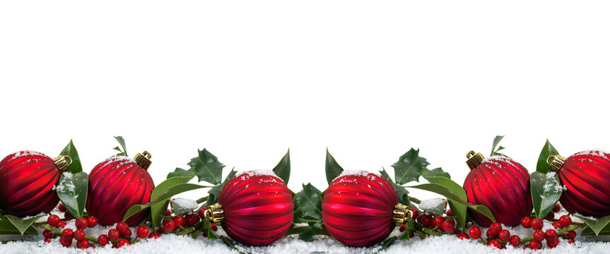 Wide Christmas border with red baubles and berries isolated on white background.