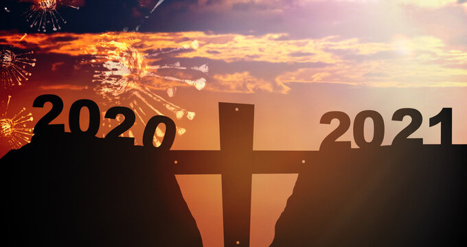 Silhouette hill and coronavirus covid19 2020 and 2021 years with sunset sky background.Fight Covid19 pandemic year with hope.Jesus cross and worship for good friday. Church New year.banner background.