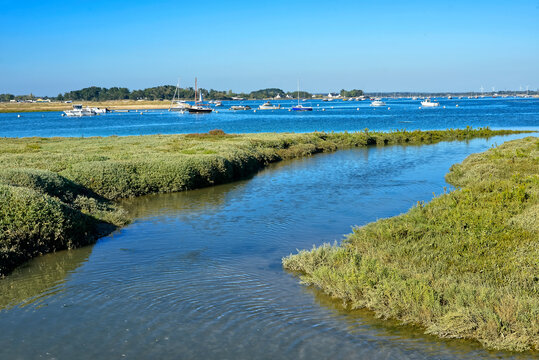Coastline and boats at Damgan, a commune in the Morbihan department of Brittany in north-western France.