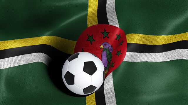 3D rendering of the flag of Dominica with a soccer ball