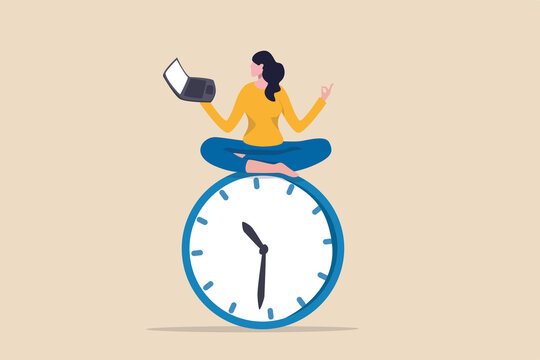 Flexible working hours, work life balance or focus and time management while working from home concept, young lady woman working with laptop while doing yoga or meditation on clock face.
