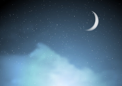 Abstract night blue starry cloudscape background with moon. Graphic vector design clipart