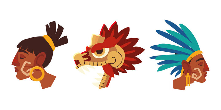 aztec warrior faces traditional headgear feathers and snake icons