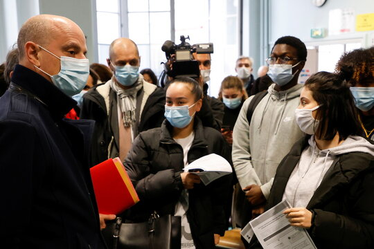 French Education, Youth and Sports Minister Jean-Michel Blanquer visits the Emile Dubois Lycee in Paris where antigen testing for the coronavirus disease (COVID-19) is taking place, in Paris