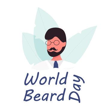 World Beard Day. Types of Beard on the Day of the Beard. Mustache Day. Flat Vector Illustration