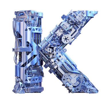 Letter K 3D logo. Cyber technology alphabet font, modern digital typography. Robotic machine device tech style ABC typeface mechanical lettering isolated. Hi tech metallic letter K design illustration
