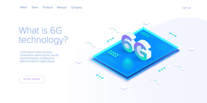 6g network technology in isometric vector illustration. Wireless mobile telecommunication service concept. Marketing website landing template. Smartphone internet speed connection background.