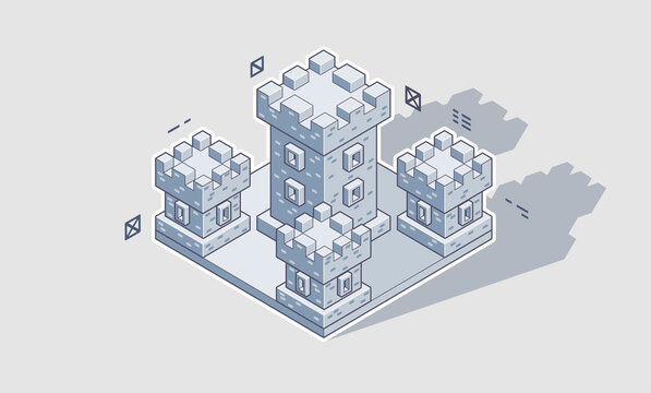 Vector illustration of an isometric medieval castle. Concept of game fortress. Stone built fort.