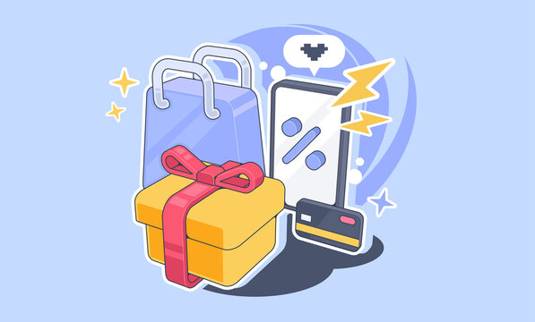 Online shopping concept illustration. Shopping attributes, illustration for advertising.