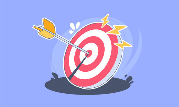 Vector illustration of the arrow is exactly on the target.