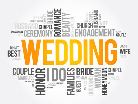 Wedding word cloud collage, social concept