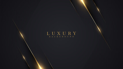 Fototapeta Luxury abstract background with golden lines on dark, modern black backdrop concept 3d style. Illustration from vector about modern template deluxe design.