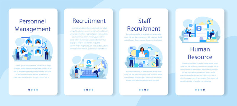 Personnel management mobile application banner set. Business recruitment