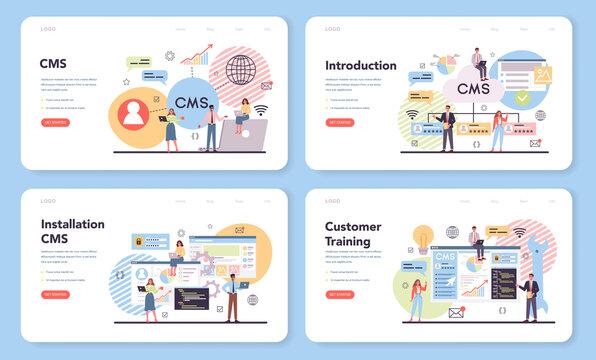 CMS web banner or landing page set. Content management