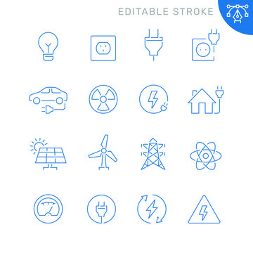 Energy and electricity related icons. Editable stroke. Thin vector icon set