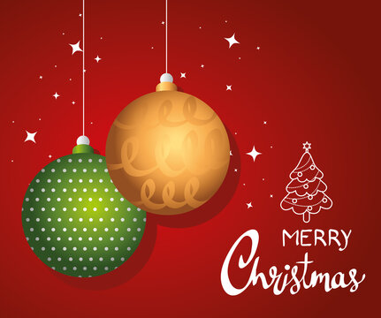 happy merry christmas lettering card with vector illustration design