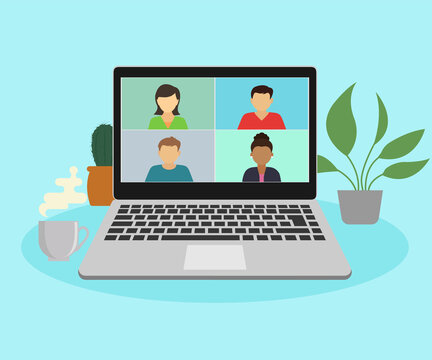 People connect together, study or meet online via teleconference, remote video conference work on a laptop computer, work from home and work from anywhere concept, flat  illustration