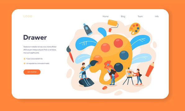 Artist web banner or landing page. Idea of creative people and profession.