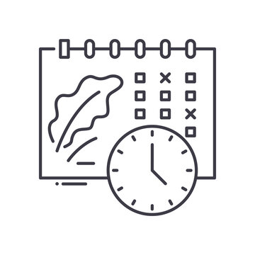 Events shedule icon, linear isolated illustration, thin line vector, web design sign, outline concept symbol with editable stroke on white background.