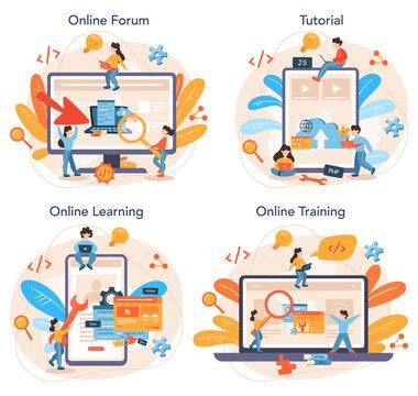 Back end development online service or platform set. Software