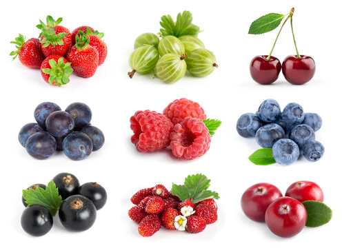 Fruits. Collection of berries on white background