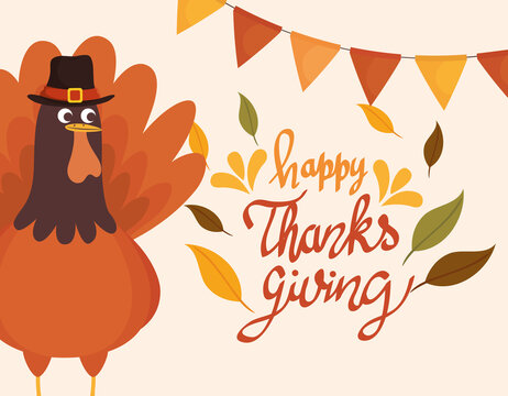 happy thanksgiving celebration lettering card with garlands and turkey vector illustration design