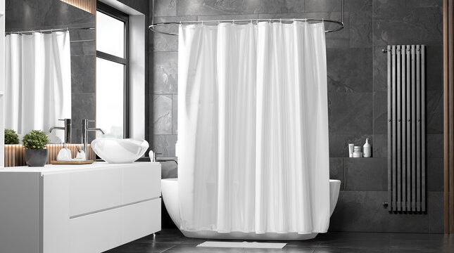 Blank white closed shower curtain mock up, front view