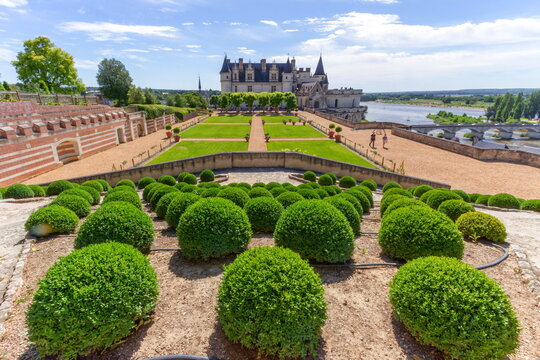 Beautiful garden and Castle Chateau d'Amboise by sunny day, Loire Valley, France.
