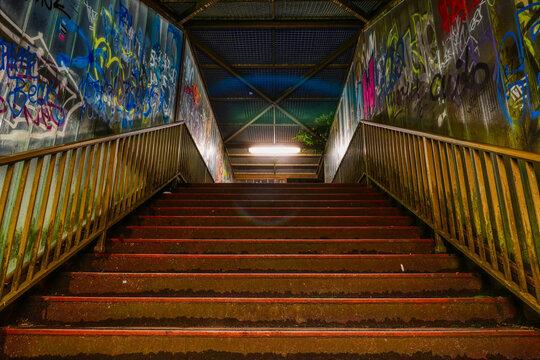 Treppe einer Fußgängerbrücke in Wuppertal Steinbeck