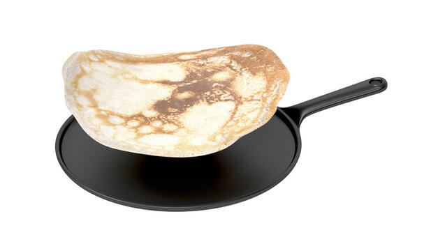 Frying pan with flying pancake, isolated on white background