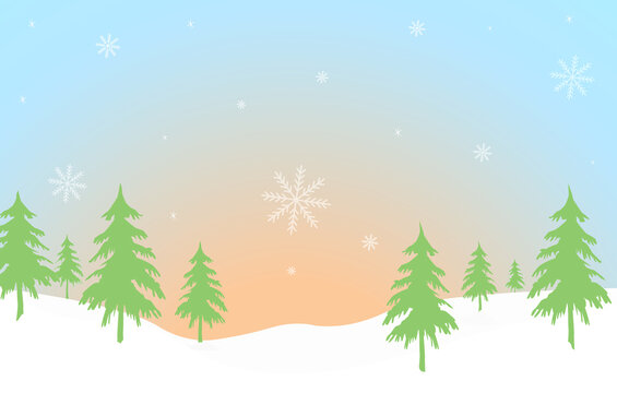 landscape with fir trees, vector illustration. Winter