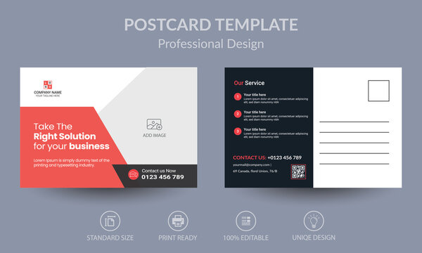 Red Corporate business postcard or EDDM postcard design template