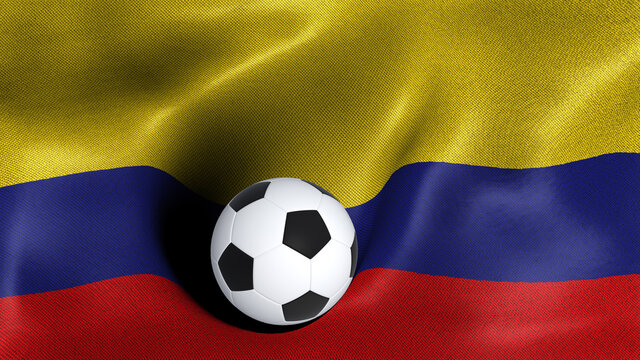 3D rendering of the flag of Colombia with a soccer ball