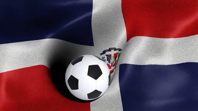 3D rendering of the flag of Dominican Republic with a soccer ball