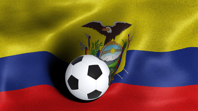 3D rendering of the flag of Ecuador with a soccer ball