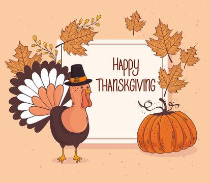 happy thanksgiving celebration lettering card with turkey pumpkin fruit vector illustration design