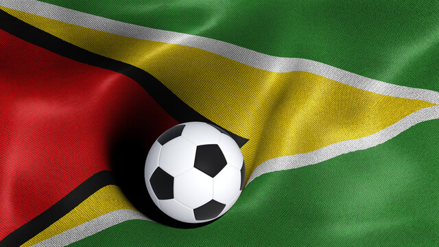 3D rendering of the flag of Guyana with a soccer ball