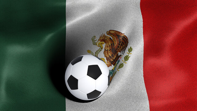 3D rendering of the flag of Mexico with a soccer ball