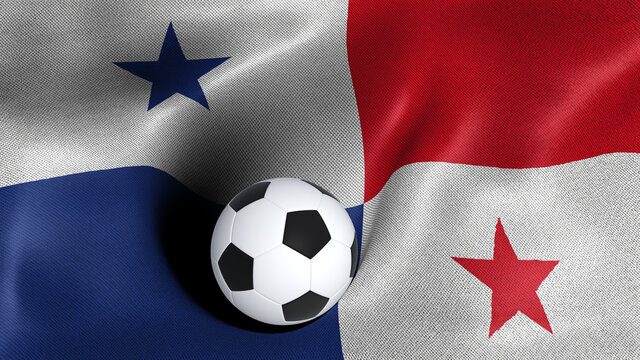3D rendering of the flag of Panama with a soccer ball