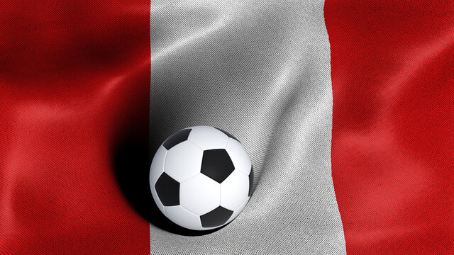3D rendering of the flag of Peru with a soccer ball