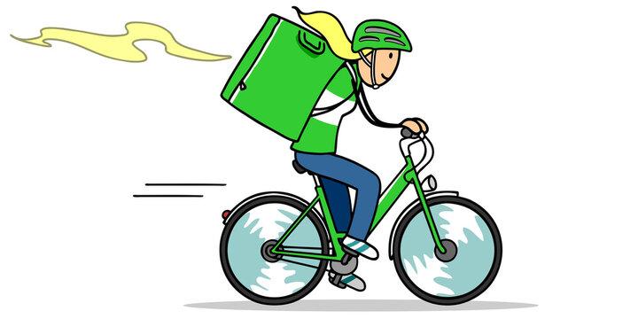 Frau auf Fahrrad als Food Lieferservice Fahrerin
