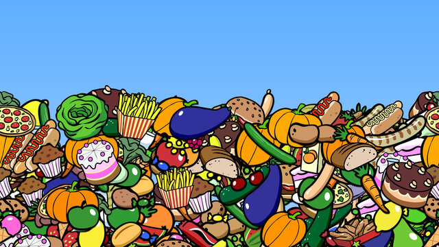 Viele Cartoon Lebensmittel als nahtloser Rahmen