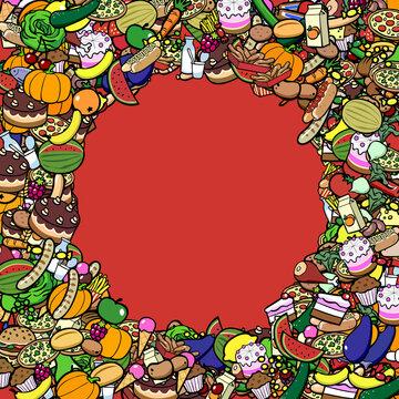 Viele bunte Lebensmittel als Hintergrund Rahmen