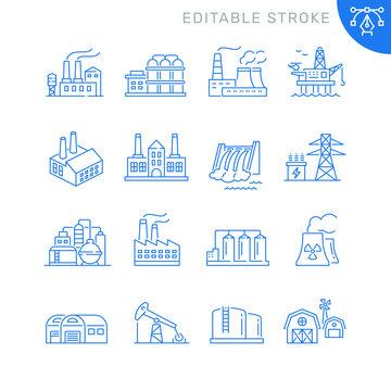Industrial factory buildings icons. Editable stroke. Thin vector icon set