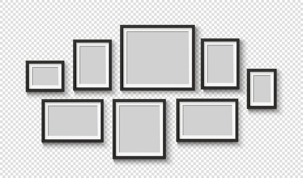 Black blank photo frame set. Vector empty pictures on wall. Square and rectangle art gallery poster.