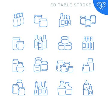 Jars and bottles related icons. Editable stroke. Thin vector icon set
