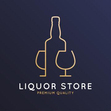 Liquor store logo. Bottle whiskey, rum or brandy